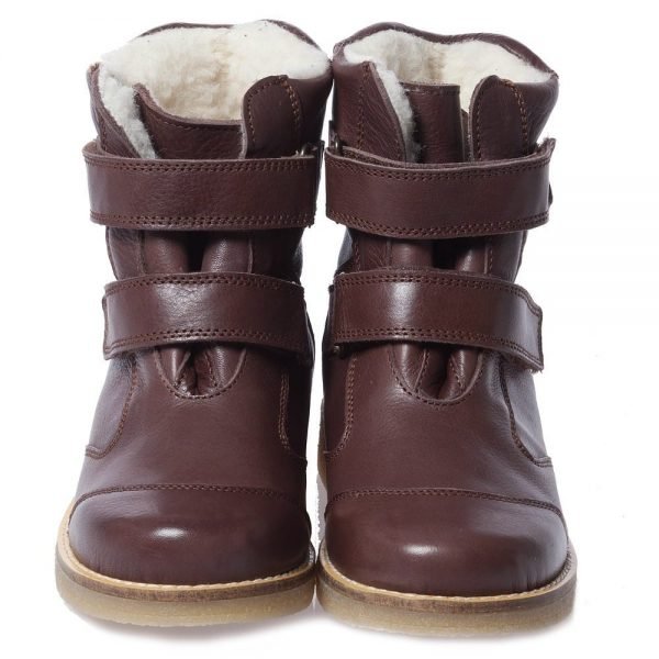 EN FANT Brown Leather Boots With Fur 4