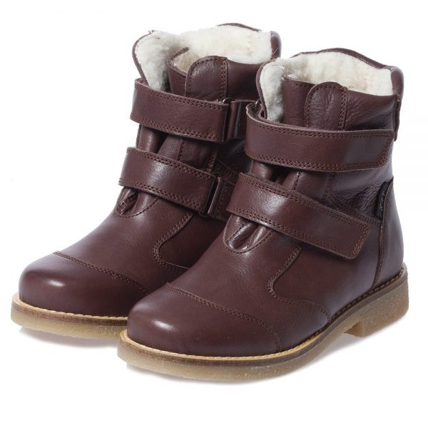EN FANT Brown Leather Boots With Fur