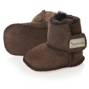 EN FANT Dark Brown Pre-Walker Sheepskin Bootees