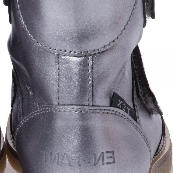 EN FANT Girls Metallic Silver Leather Boots With Fur 3