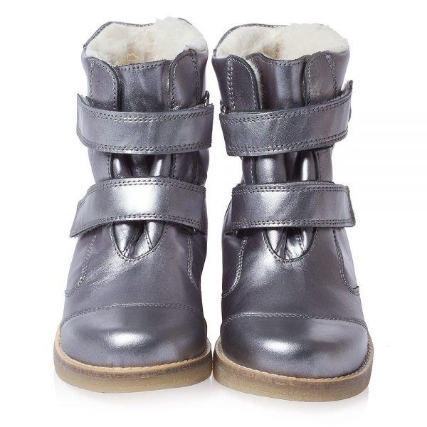 EN FANT Girls Metallic Silver Leather Boots With Fur 5