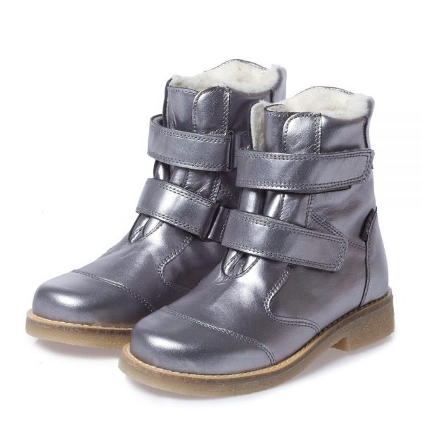 EN FANT Girls Metallic Silver Leather Boots With Fur
