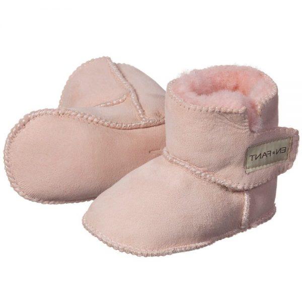 EN FANT Pink Pre-Walker Sheepskin Bootees