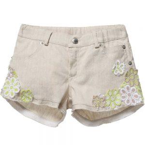 ERMANNO SCERVINO Girls Beige Linen Shorts