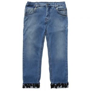 ERMANNO SCERVINO Girls Denim Jeans with Black Lace Trims