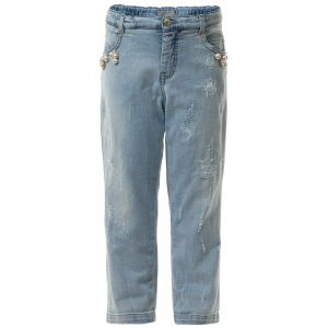 ERMANNO SCERVINO Girls Denim Jeans with Pearl Embellishment 3