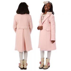 ERMANNO SCERVINO Girls Pink Classic Wool Coat 1
