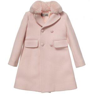 ERMANNO SCERVINO Girls Pink Classic Wool Coat