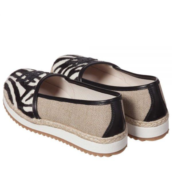 ERMANNO SCERVINO Girls Zebra Print Leather & Canvas Pumps 2