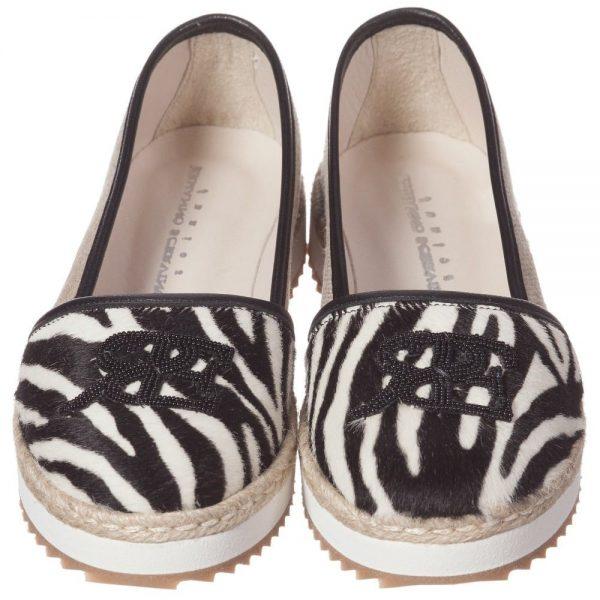 ERMANNO SCERVINO Girls Zebra Print Leather & Canvas Pumps 3