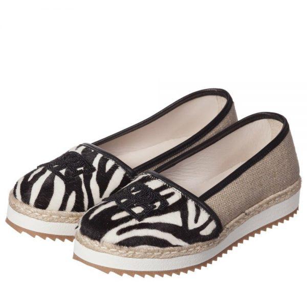 ERMANNO SCERVINO Girls Zebra Print Leather & Canvas Pumps