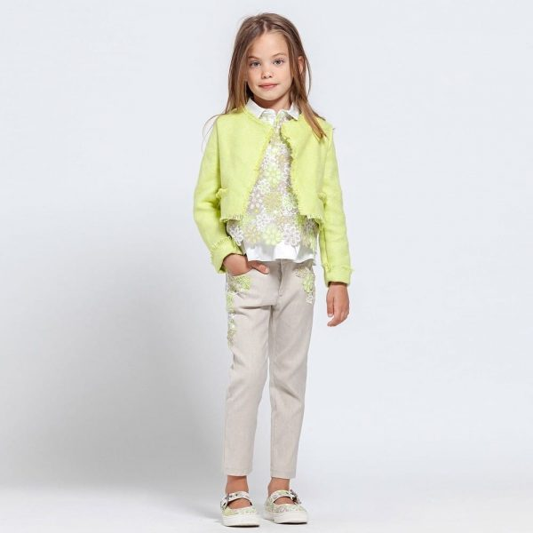 ERMANNO SCERVINO Green & White Floral Embroidered Blouse 1