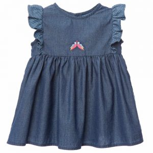 FENDI Baby Girls 'FF' Logo Chambray Dress