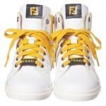 FENDI Boys White, Blue & Yellow High-Top Trainers 1