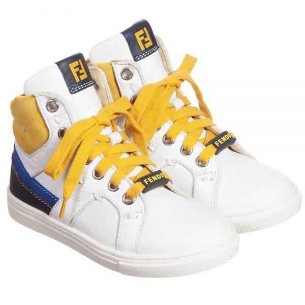 FENDI Boys White, Blue & Yellow High-Top Trainers