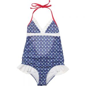 FENDI Girls Blue 'FF Monster' Swimsuit