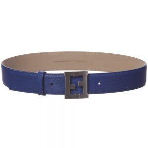 FENDI Unisex Blue Leather 'FF' Buckle Belt