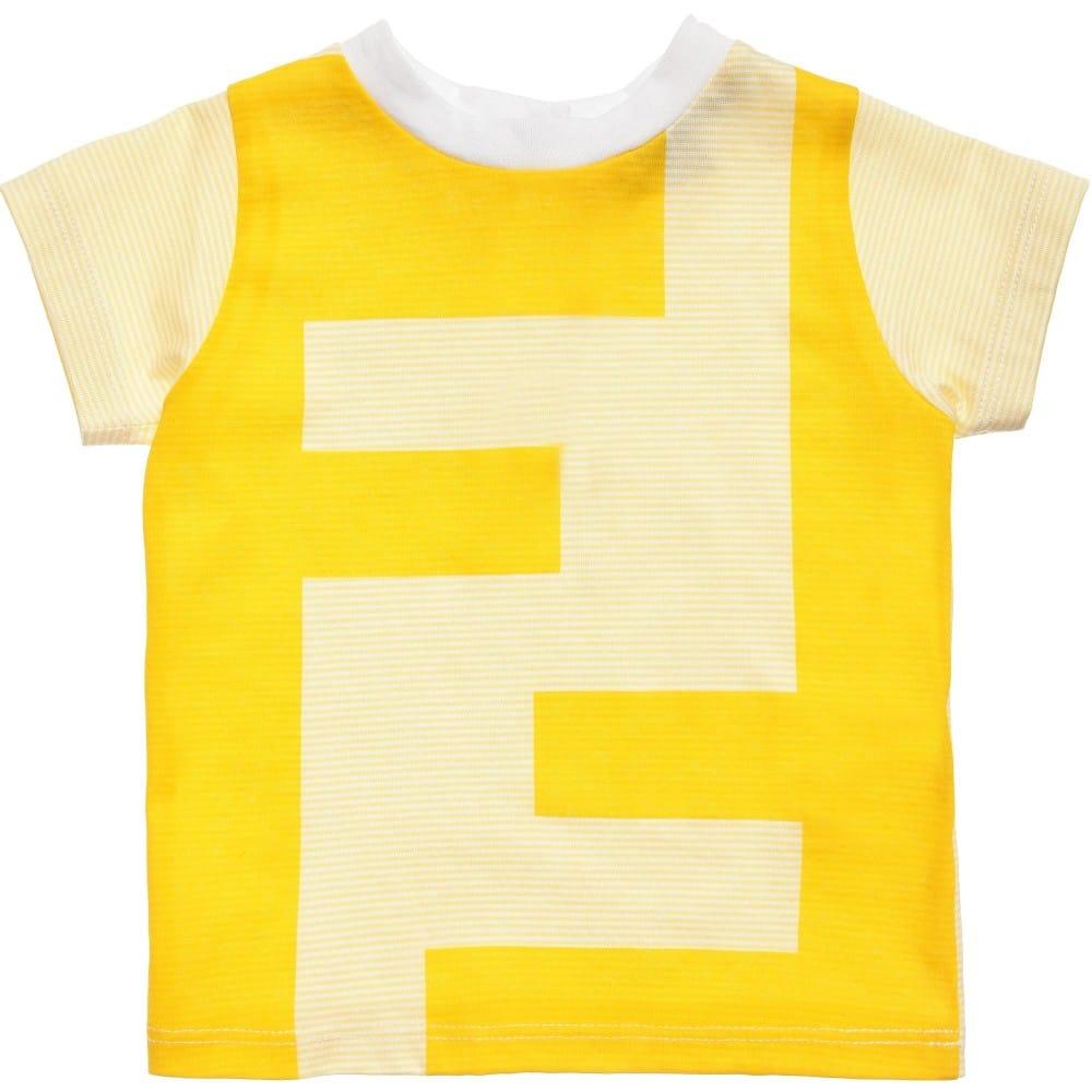e2fbb422fd284 FENDI Baby Boys Yellow Cotton  FF  T-Shirt - Children Boutique