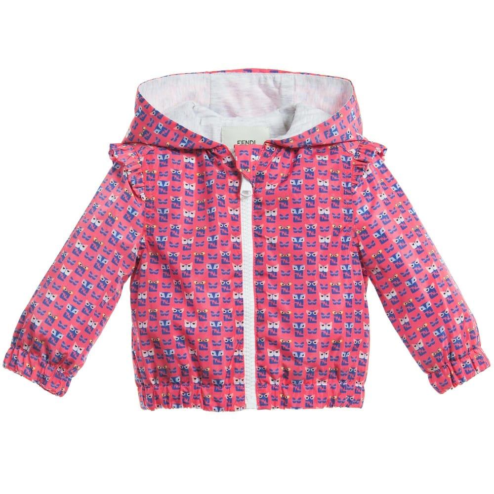 712584032570 FENDI Baby Girls Pink  FF Monster  Lightweight Jacket - Children ...