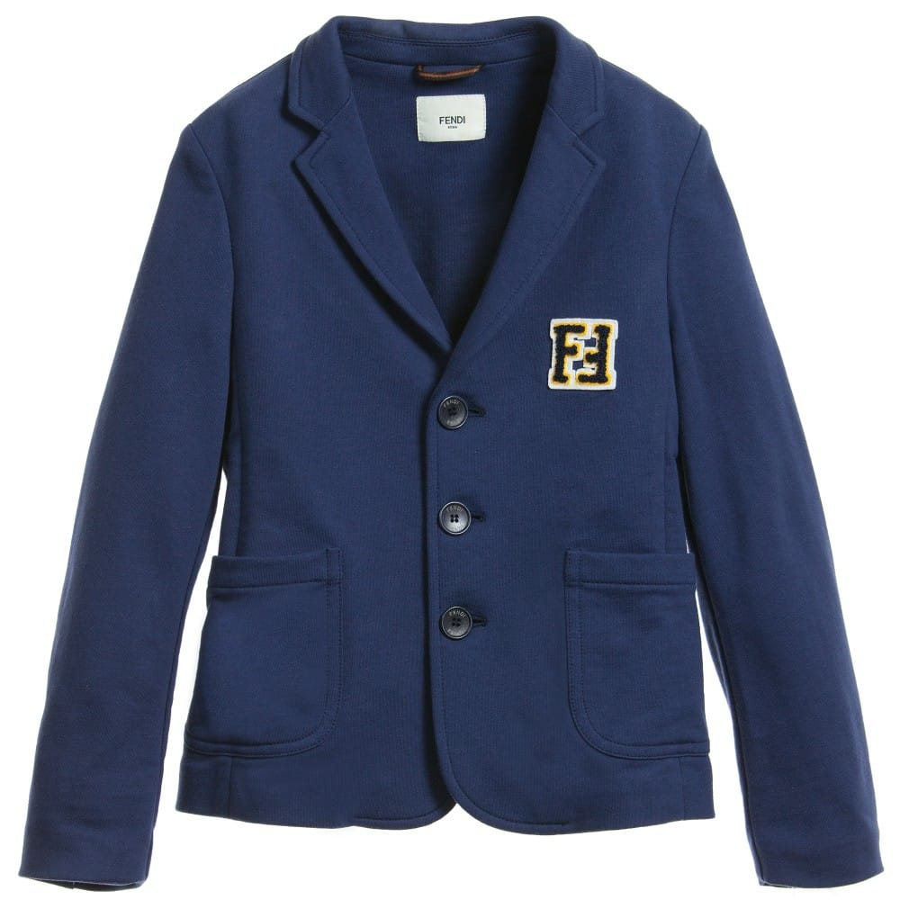 Fendi Boys Navy Blue Jersey 'FF' Blazer