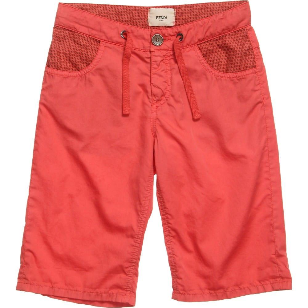 Fendi Boys Red 'FF' Logo Print Bermuda Shorts