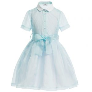 Fendi Pale Blue Silk 'FF' Dress & Belt