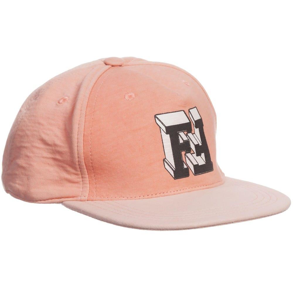 b3d6a2bd057 FENDI Unisex Salmon Pink Cotton  FF  Cap - Children Boutique