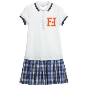 Fendi White & Blue Check 'FF' Polo Dress
