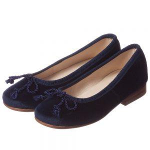 OSCAR DE LA RENTA Girls Blue Leather Shoes with Bow