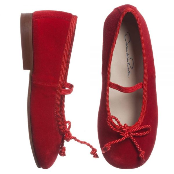 OSCAR DE LA RENTA Red Velvet 'Sabrina' Pumps with Bow 1