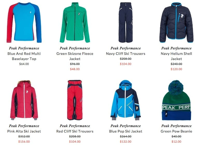 Peak Performance junior ski clothing & accessories