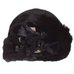 Quis Quis Girls Black Hat with Fur & Flowers