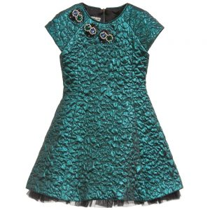 Quis Quis Green Metallic Quilted Dress with Jewels