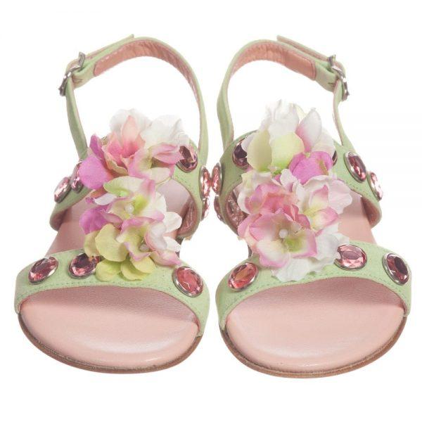 Quis Quis Green Suede Floral & Gem Sandals1
