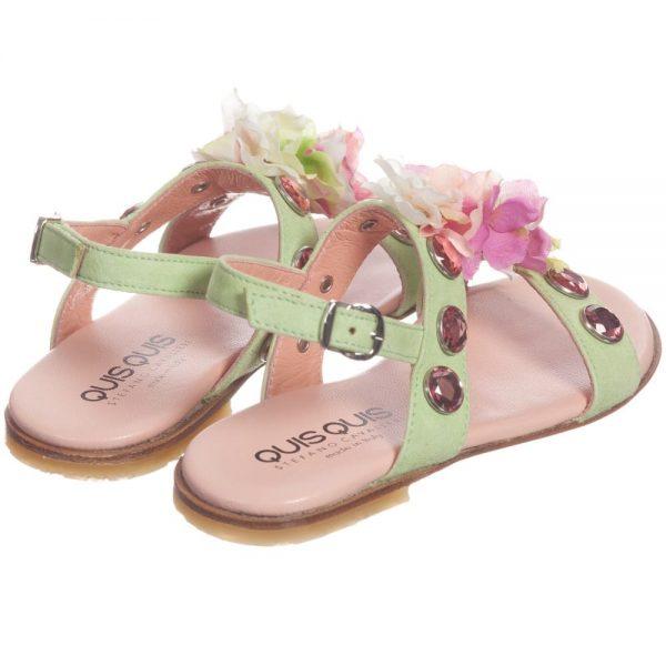 Quis Quis Green Suede Floral & Gem Sandals2