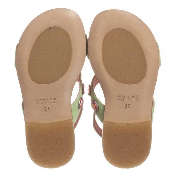 Quis Quis Green Suede Floral & Gem Sandals3