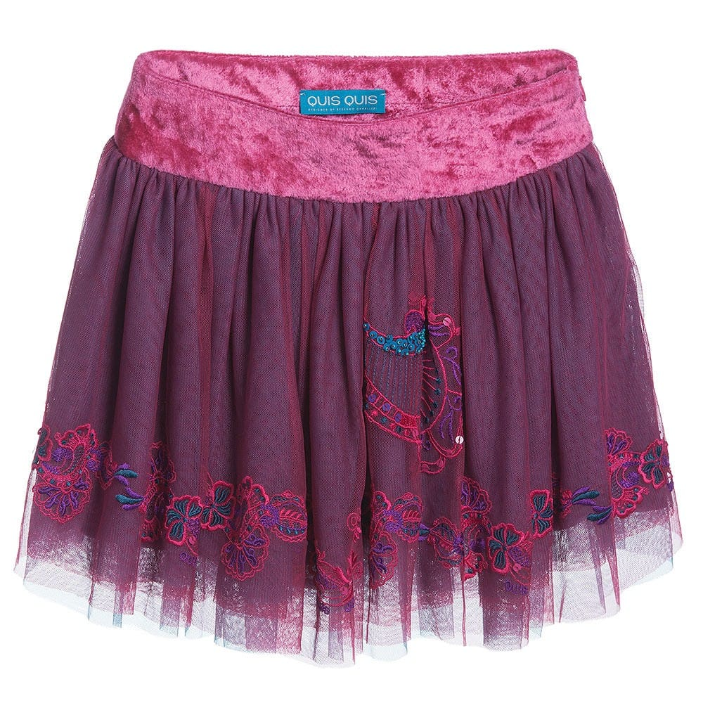 Quis Quis Pink Tulle & Velvet Skirt
