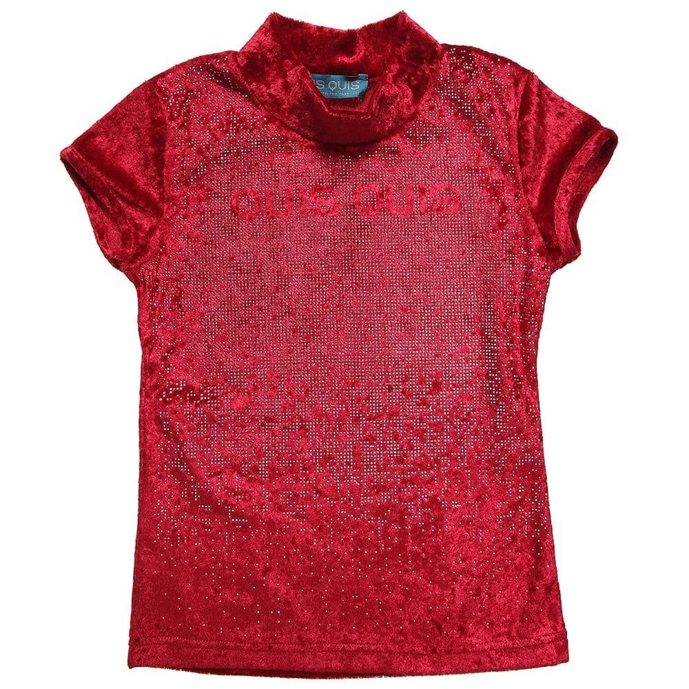 Quis Quis Red Crushed Velvet Top