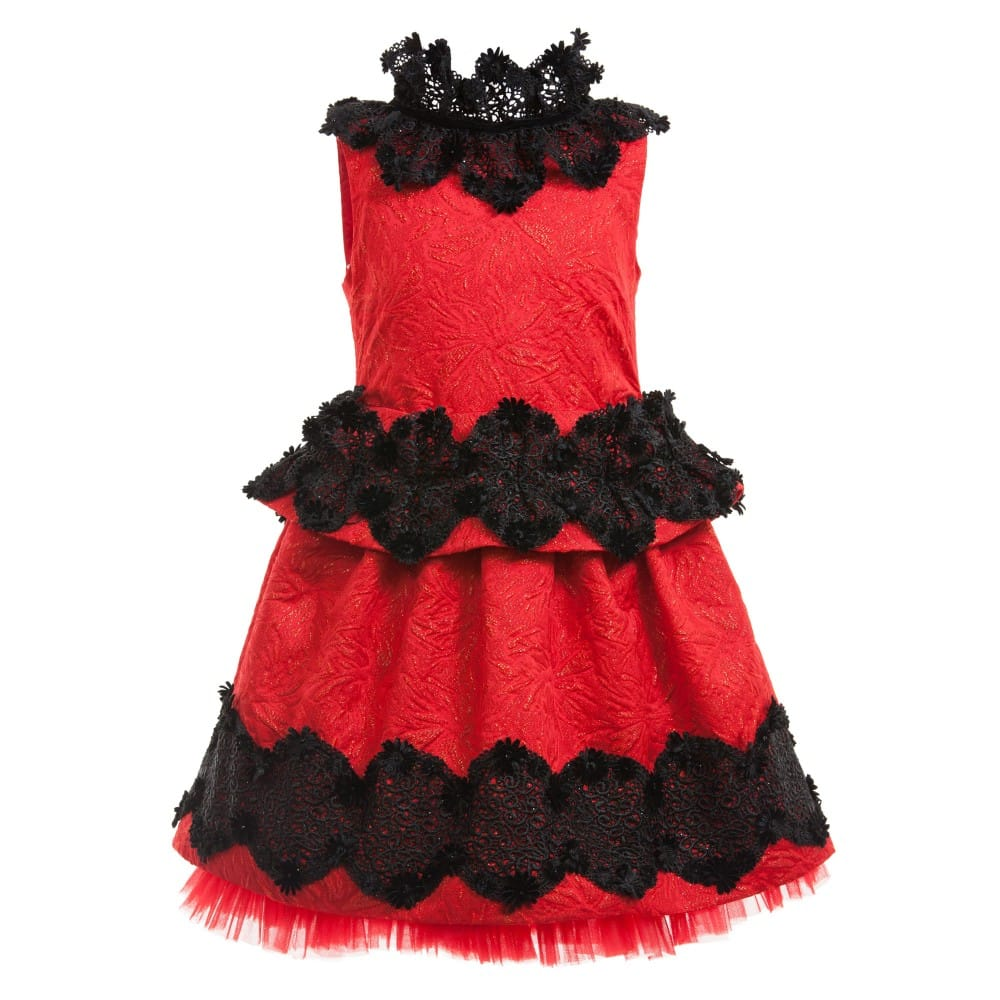 Quis Quis Red Glittery Dress With Black Lace