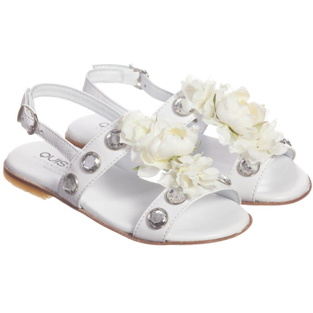 Quis Quis White Leather Floral & Gem Sandals