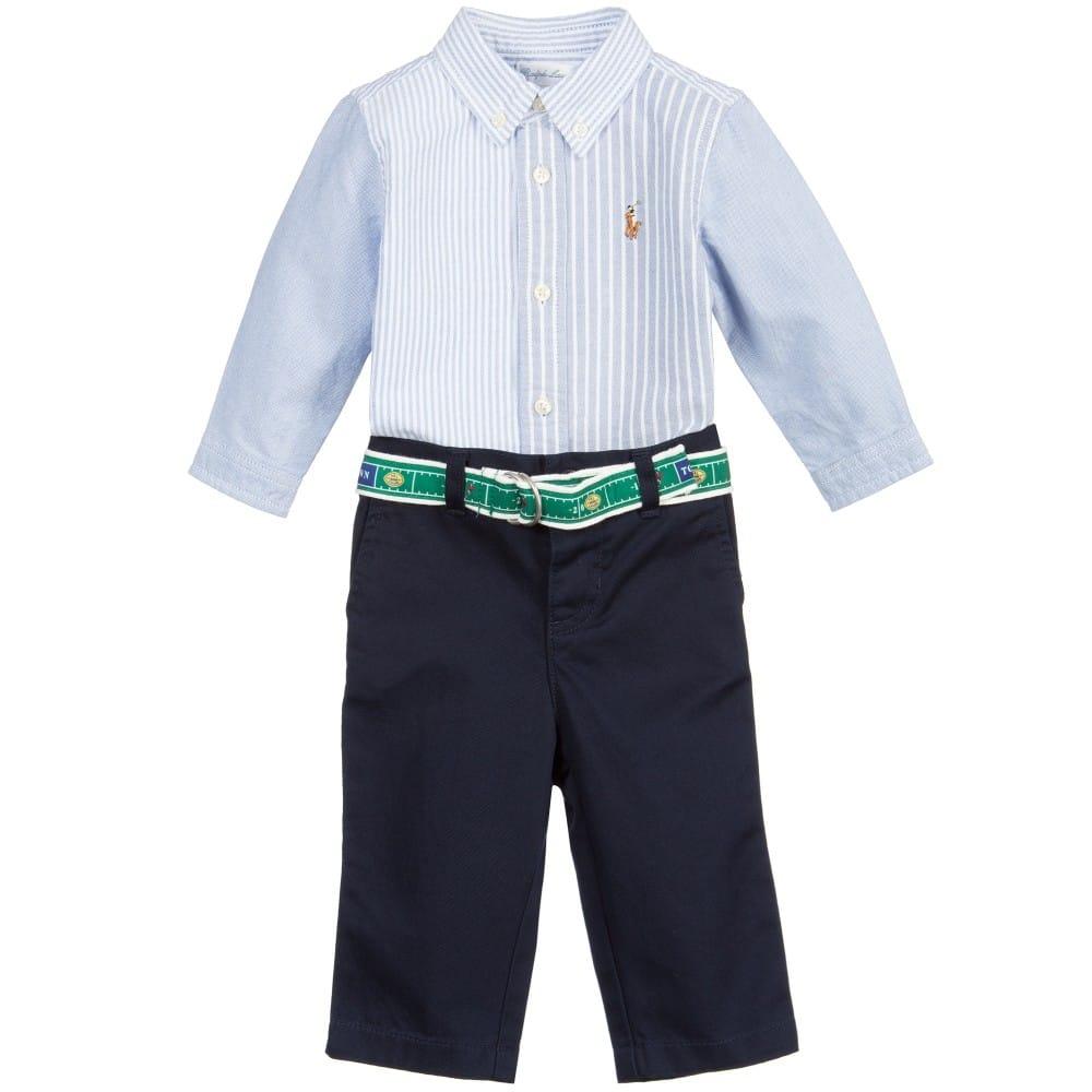 Ralph Lauren Baby Boys Blue Cotton Shirt Navy Trousers