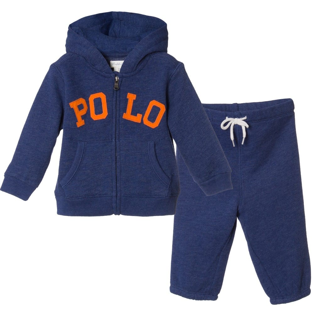 Ralph Lauren Baby Boys Blue Hooded Tracksuit