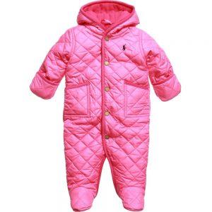 Ralph Lauren Baby Girls Pink Quilted Snowsuit
