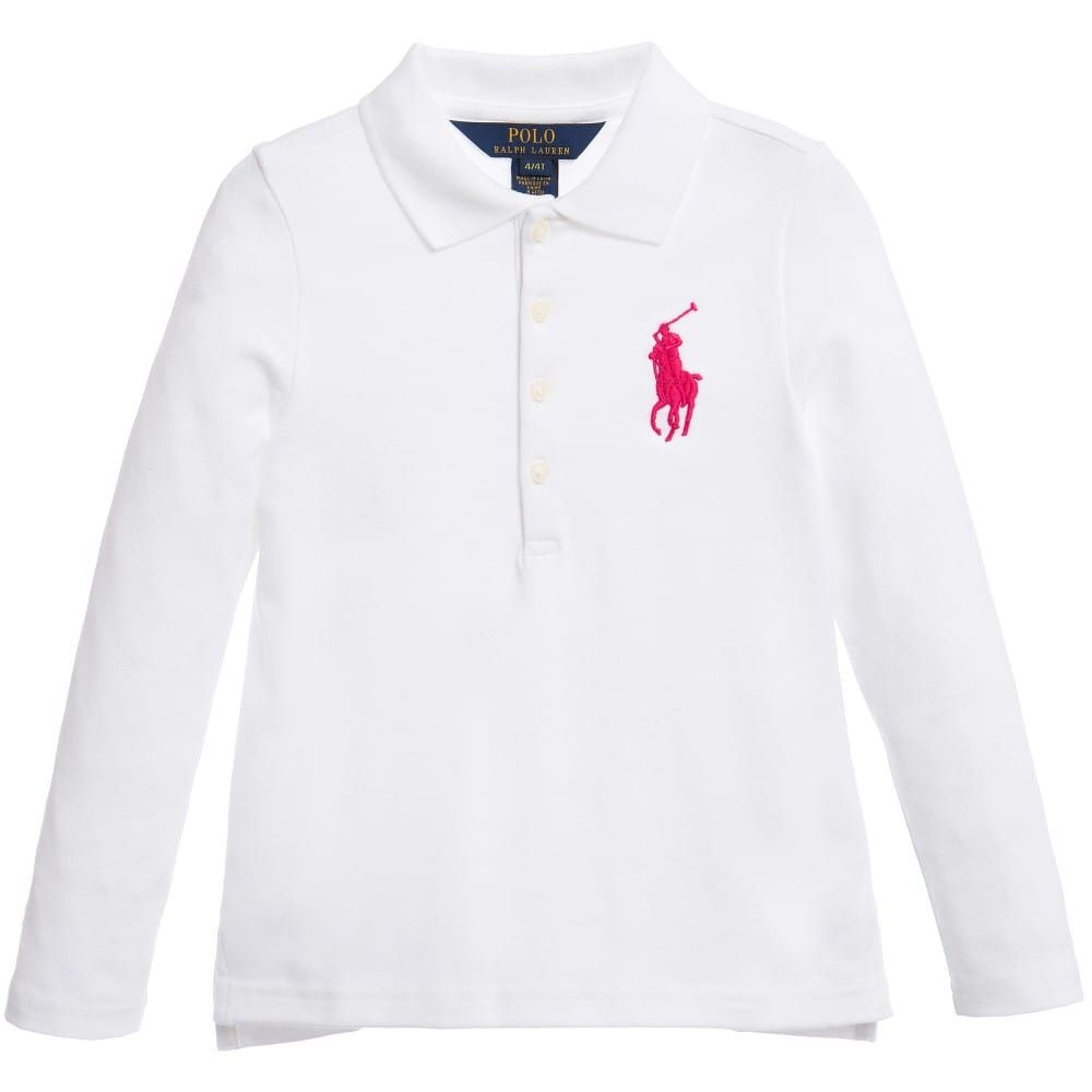 RALPH LAUREN Girls White 'Big Pony' Cotton Polo Shirt