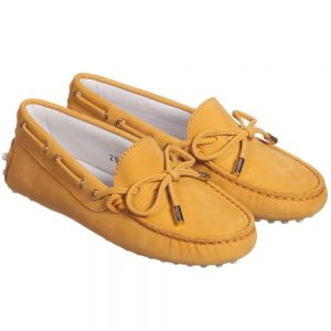 Girls Yellow Nubuck Leather Deck Shoes1