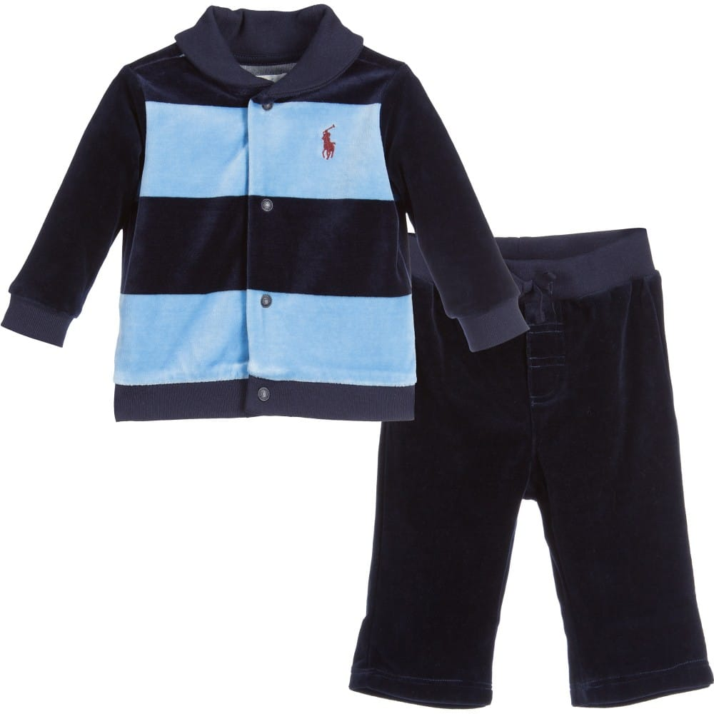 Ralph Lauren Baby Boys Blue Striped Velour Tracksuit