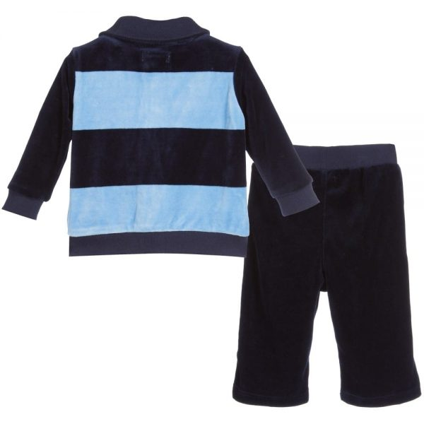 Ralph Lauren Baby Boys Blue Striped Velour Tracksuit1