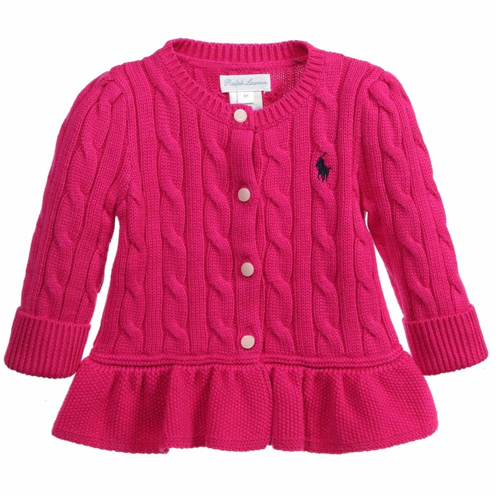 Ralph Lauren Baby Girls Bright Pink Knitted Peplum