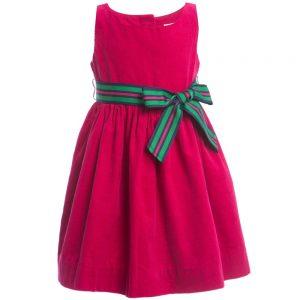 Ralph Lauren Baby Girls Dark Pink Corduroy Dress & Knickers