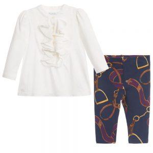 Ralph Lauren Baby Girls Ivory Ruffle Top & Blue Leggings
